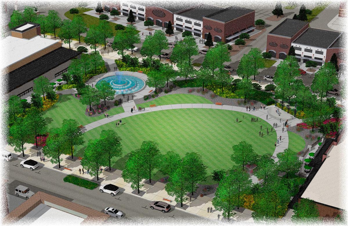 Durango, Colorado, community, architecture, landscape design, landscape architecture, rendering, 3D, three dimensional, digital model, pov, public park, fountain, lawn, stage, central park