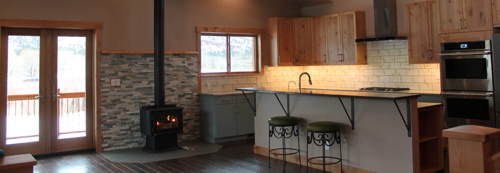 Durango, Colorado, residential, single family, architecture, general contractor, durango contractor, design build, durango builder, custom home, kitchen, great room, wood stove